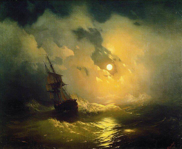 Mare in tempesta di notte