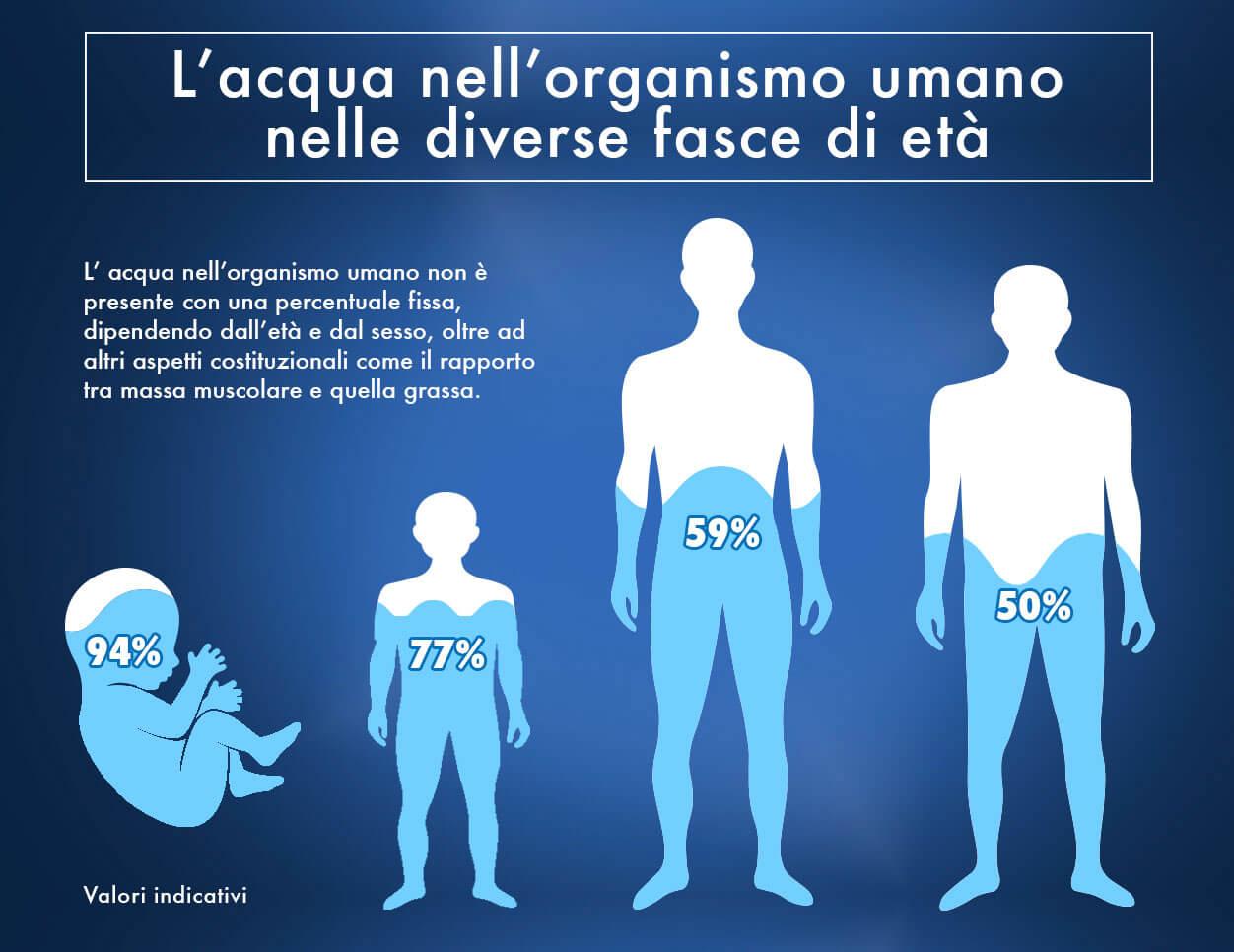 % acqua nel corpo umano nelle varie età